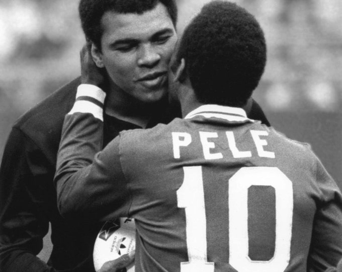 Pele Greets Muhammad Ali Before a New York Cosmos Soccer Game - 5X7, 8X10 or 11X14 Photo (EP-631)