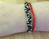 Bobble bracelet, metallic, black, silver, red, matte, for her, fun, casual, elasticated, 7 inches, non allergenic, seed beads, customise