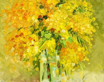 Sunny mimosa, Oil painting on canvase, Painting, Bright art, Palette knife Art wall Decor home, Canvas Oil, Fine Art Mimosa Flowers