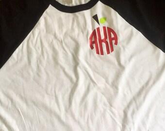 Apple monogram baseball t shirt or monogram t shirt