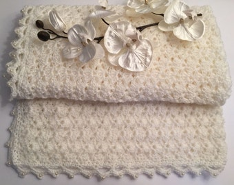 Crochet handmade ivory 'Lily' baby Christening Blanket with cream bead edging