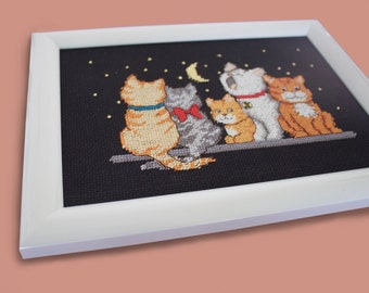 Embroidery/ Picture/ Midnight Meow/ Designed by Gayle F. Glass