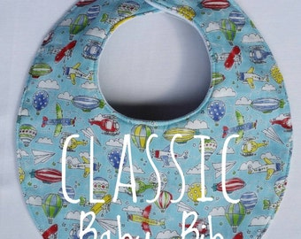 Classic Baby Bib in Sky Blue! Dribble bib, Drool Bib, Baby Boy Bib with Absorbent Cotton Double Gauze, Great Baby Shower Gift,