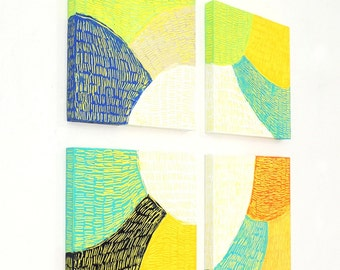 """Vibrant Abstract Art Paintings, Vibrant Modern Wall Art, Home Decor, Set of 4 Artworks, Ready to Hang, """"Spectrum Series"""" - FS02"""