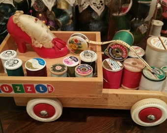 Vintage Thread+Measuring Tape+ Pin Cushion All in Vintage Toy Truck SUPER CUTE!!