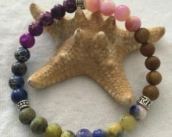 Summer Colors Beaded Stretch Bracelet