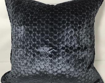 """20"""" SQ. Osborne & Little velvet:  Navy circle print velvet pillow cover"""