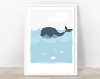 Children's A4 Poster - Baby Whale
