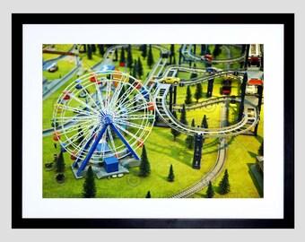 Kids Model Park Ferris Wheel Railway Miniature Children Fine Art Print FEBMP834B