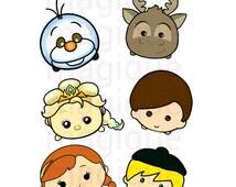 tsum tsum clipart, frozen clipart, tsum tsum stickers, planner clipart, disney stickers, planner stickers, digital prints.