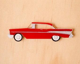 Red Retro '57 Chevy Brooch