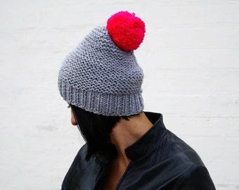 Knit hat Winter hat Pom pom hat Gray beanie Winter accessory Gray Pink hat Womens beanie with pom pom