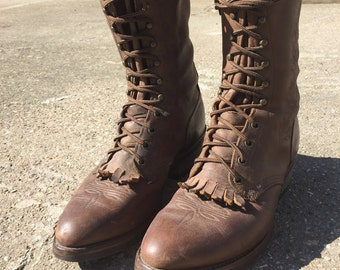 VINTAGE COWBOY BOOTS mens Lace Up