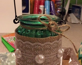Wedding, Centerpieces, Tea Lights, Burlap, Pearls, Jute, Lace, Wire, Embroidered