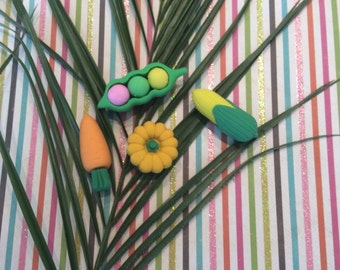 Freshly picked vegetable erasers.