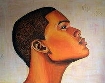 Painting - man (Afro-American) in profile - 100x140cm