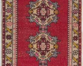 antique hand knotted rug Turkish rug runner 3.4 x 8.6