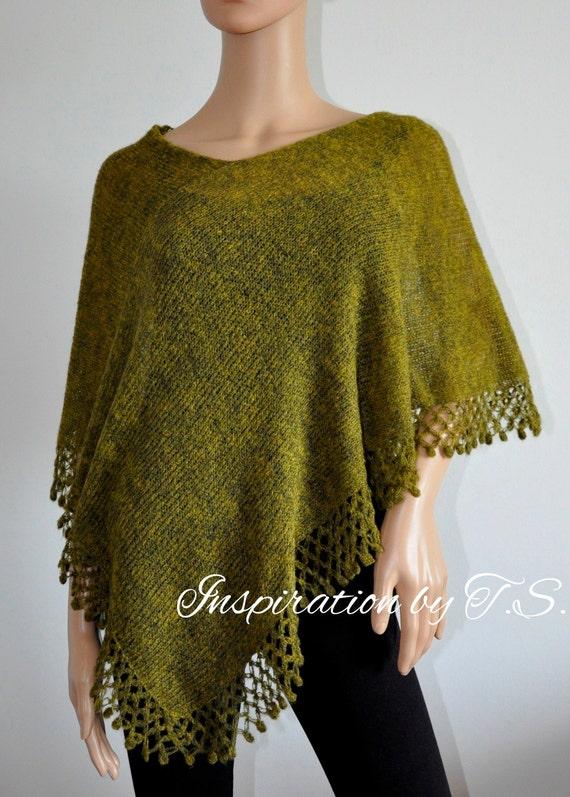 Asymmetrical poncho Green Handmade Wool knit poncho, Green cape,  Hand knitted poncho, Green wrap, Women Poncho, Mohair yarn, Ready to Ship