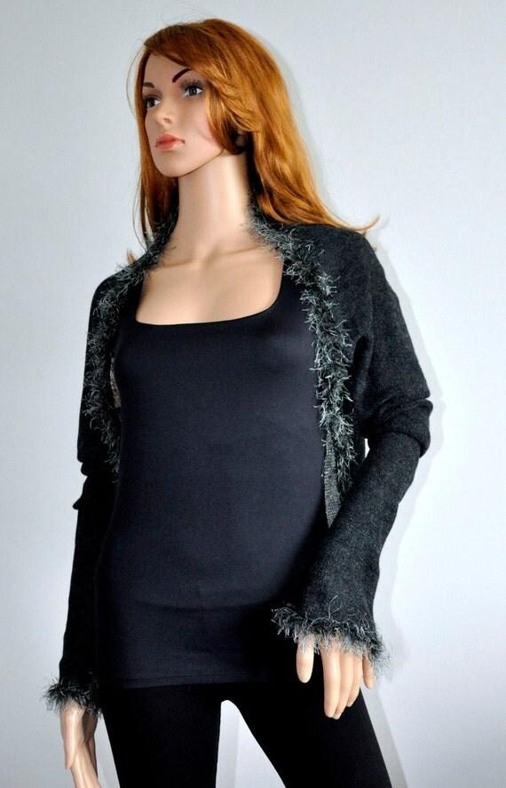 Dark Gray Bolero Scarf Black Evening Shrug Jacket Shrug Faux Fur Detail Bridal wrap Accessories Handmade Ready to Ship