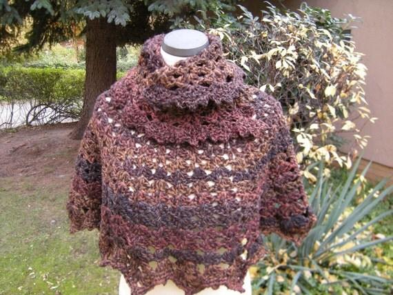 Short poncho crochet Alpaca Brown