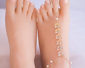 Swarovski Pearls Crystal Barefoot Sandal Foot Jewelry Barefoot Wedding Sandal Beach Wedding Accessories Barefoot sandals Bridal foot jewelry