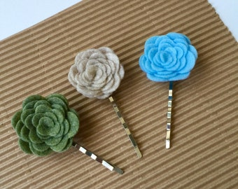 Bobby Pin Set - Felt Flower Bobby Pins - Bobby Pin - Flower Pin - Dainty Flower Set