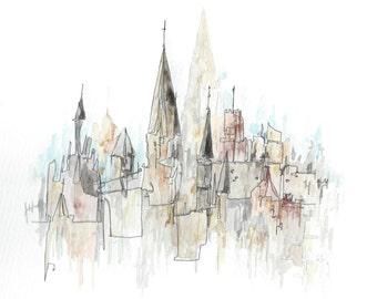Edinburgh postcard- Skyline