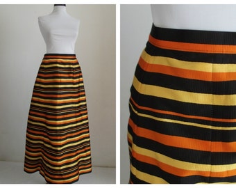 1970s  Elise Bloch Skirt Summer Skirt Striped Maxi Skirt