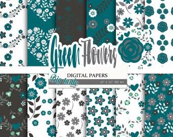 60% OFF SALE Green Floral digital paper pack, Scrapbook Paper, green patterns, floral background, flower digital paper, shabby Digital paper