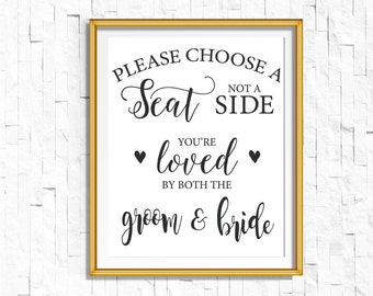 DIY PRINTABLE Black Choose a Seat Not a Side | Instant Download Wedding Ceremony Reception Sign Rustic Calligraphy| Seating Sign | WB1