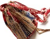 Drawstring Crossbody Purse, Upcycled Burlap Bag, Red Fair Trade Purse, Small Crossbody, Made in NC