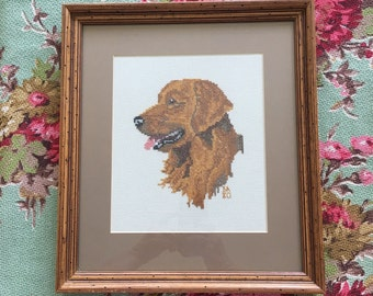 Cross Stitch Dog Art Framed