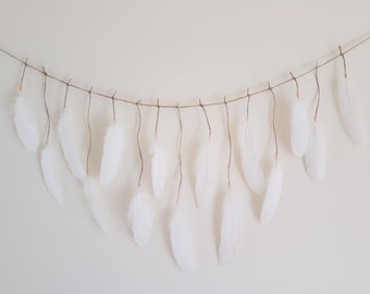 Feather Garland | Made to Order | Real Feathers | Boho | Wall Hanging | Wall Decor | Home Decor