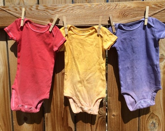 Set of Three Ombre Dyed Onesie/Bodysuit 3-6 months