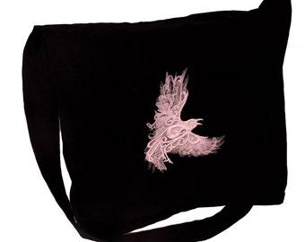 Black Linen Messenger Bag with White Raven Design
