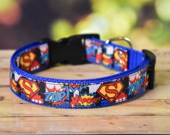 Superman Adjustable Dog Collar / Blue /Marvel /Super hero / Justice League / DC Comics / S / M / L / XL