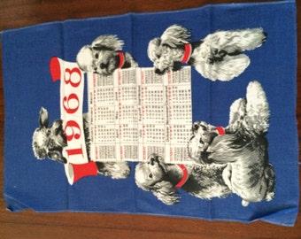 Linen Tea towel-1968 calendar-Poodles