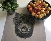Linen table cloth, linen placemats, linen place mat, wild pig table cloth, animal print, animal placemats, animal table cloth, linen animal