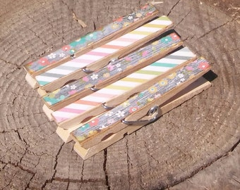 Wood Grain Flowers Clothespin Magnets Clips Set of 5 Pink Turquoise