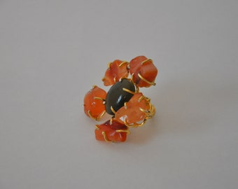 Blooming Flower Hand Ring - Adjustable Size