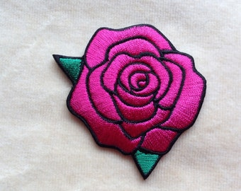 Rose Flower Iron On Patches #Hot Pink