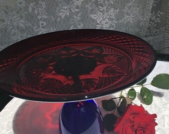 Wedding Cake Stand Vintage Cobalt Blue and Ruby Red Glass Dessert Serving Tray