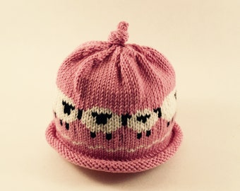 Hand Knit Baby Sheep Hat in Pink