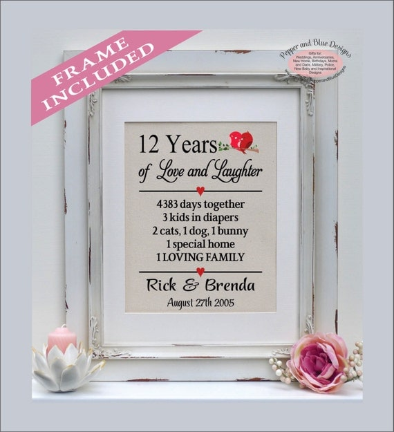 Wedding Gifts 12 Year Anniversary : 12th anniversary gift, 12 years married, 12 year anniversary, gift for ...