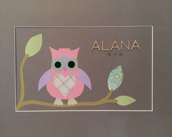 Personalised Owl Nursery Picture