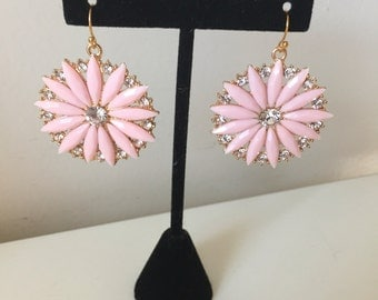 Pink Flower Burst  Earrings