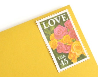 Pack of 25 Unused Love & Roses Stamps - 45c - 1988 - Unused vintage postage - Quantity of 25