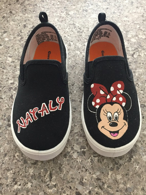 toddler painted minnie mouse slip on canvas shoes