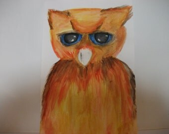 Firey Owl With Blue Eyes Watercolour A5 Painting