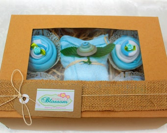 Baby Cupcakes - Blue and White